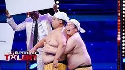 Dickbäuchige Japaner imitieren lustige Geräusche mit ihren Körpern!   Das Supertalent vom 09.11.2019