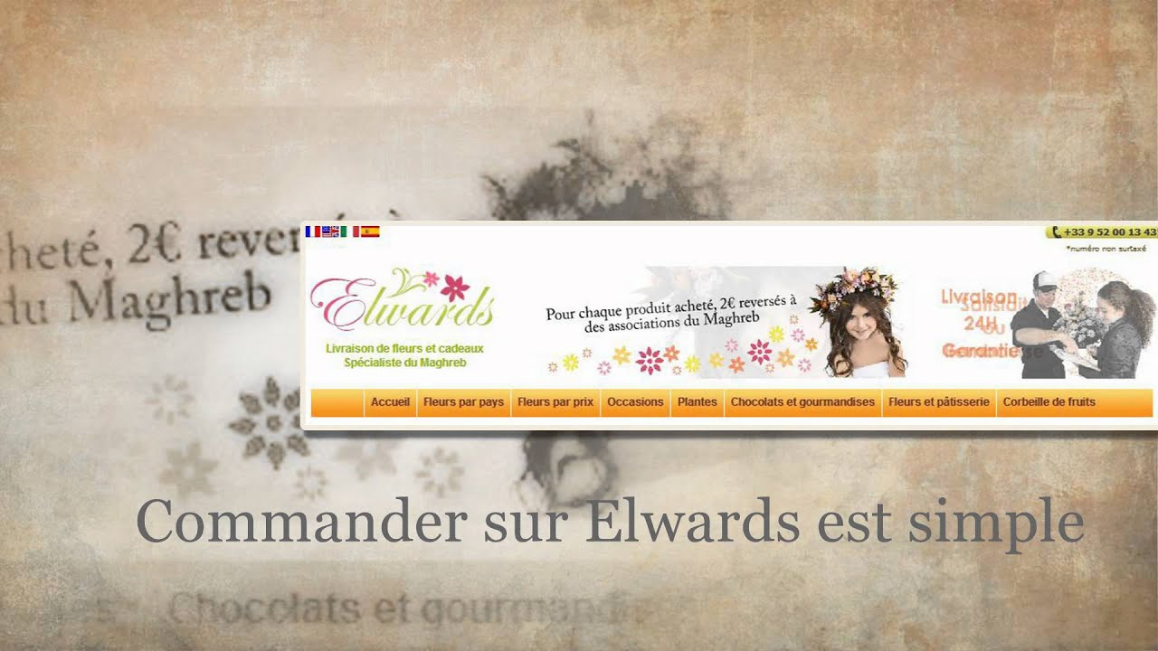 elwards livraison fleurs maroc algerie tunisie video d monstration commande en ligne youtube. Black Bedroom Furniture Sets. Home Design Ideas
