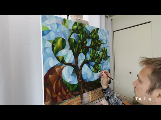 """Cubism painting """"Just A Tree"""" in making (oil on canvas, cubism, symbolism, philosophy, zen)"""