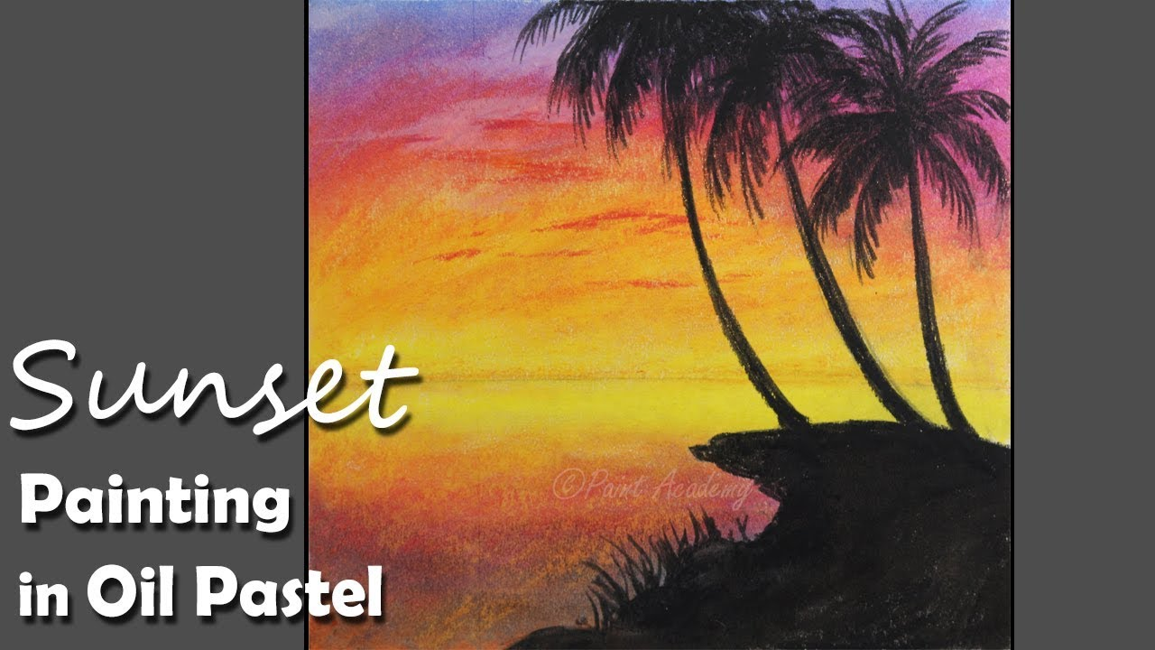 sunset painting in oil pastel step by step with color information