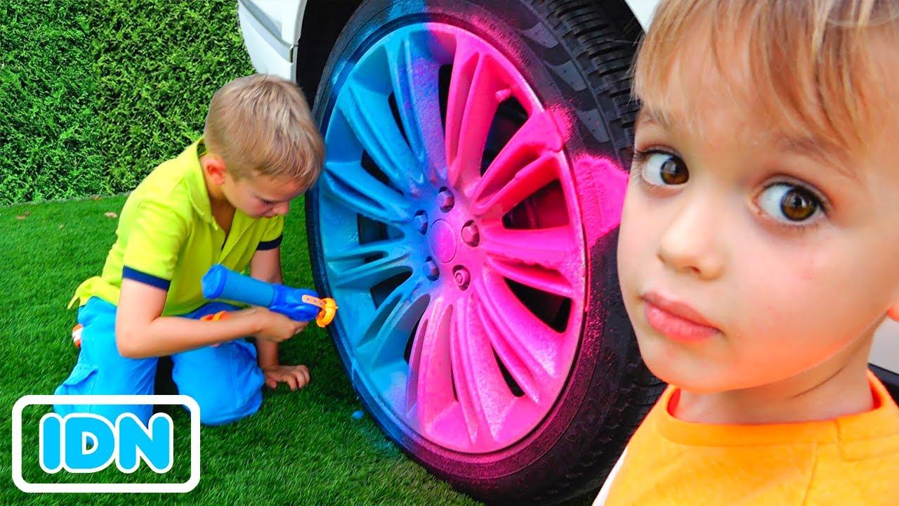Vlad dan Niki bermain game outdoor & toys dan bersenang senang dengan ibu