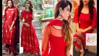 #punjabi red suit design idea #red beautiful suit designs #red colour kurtis design #fashion beauty