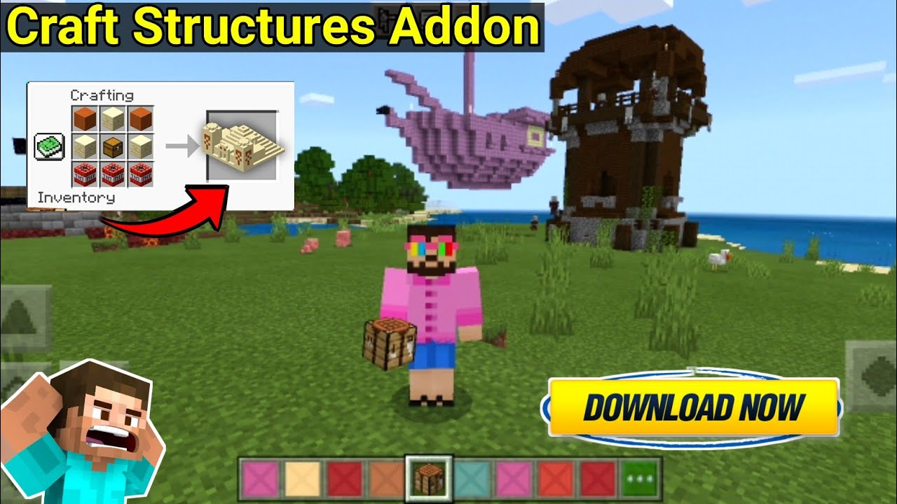 Craft Structures Addon For Minecraft Pe   Craftable Structures Mod For MinecraftPe   In Hindi   2021