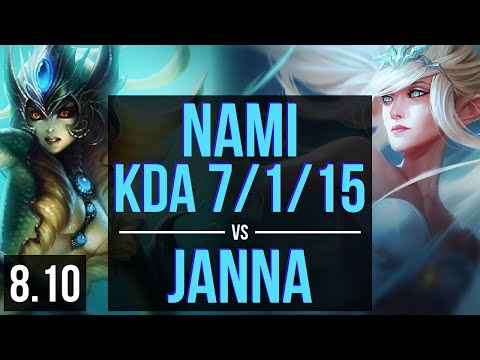 NAMI vs JANNA (SUPPORT) ~ KDA 7/1/15, Unstoppable ~ EUW Master ~ Patch 8.10