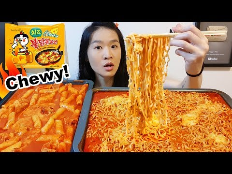 SPICY RICE CAKES & CHEESY FIRE NOODLES!! Korean Ramen | Eating Show Mukbang w/ Chewy Eating Sounds