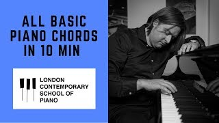 All Major, Minor and Diminished Chords in 10 minutes : Piano Tutorial