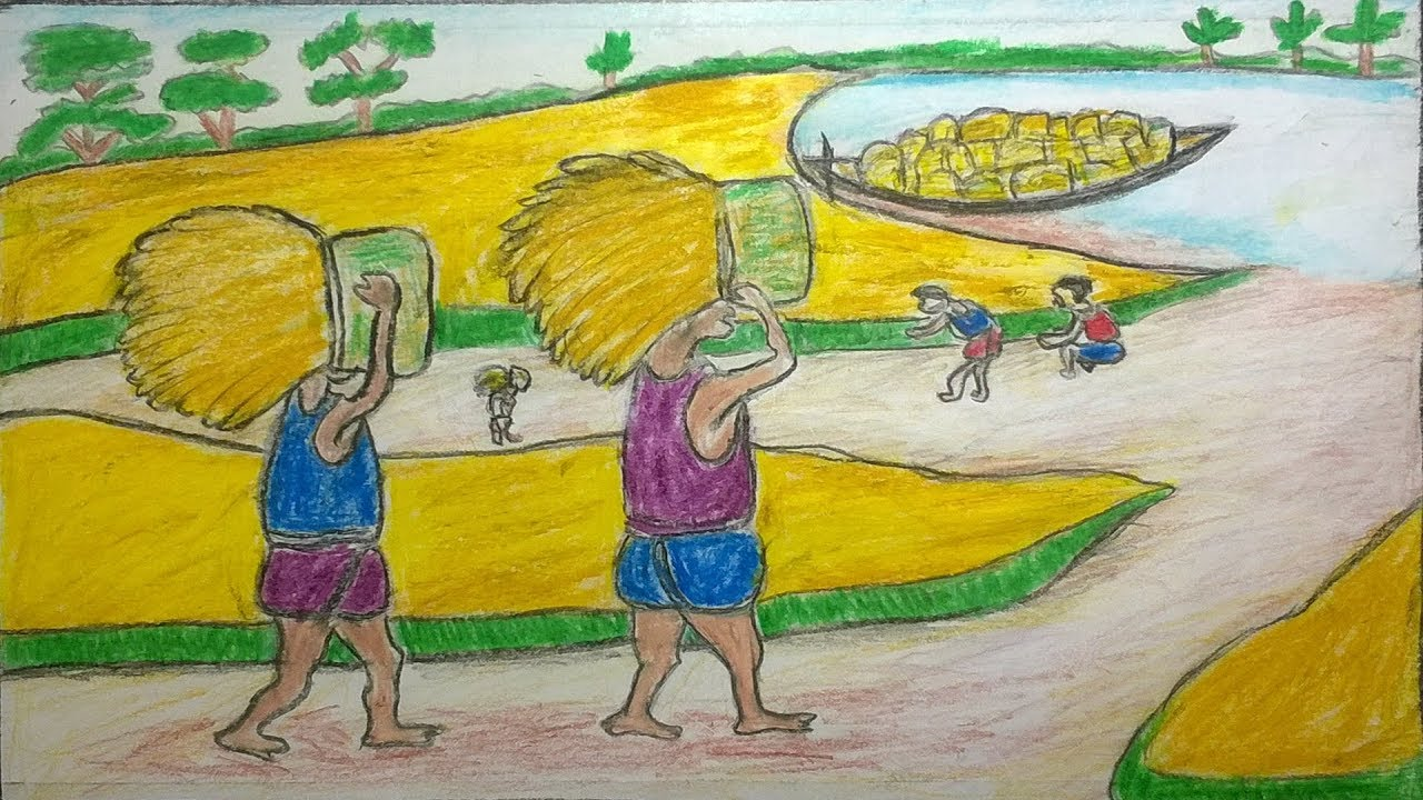 How to draw a village scenery step by stepfarmers are working on the field mr drawing academy