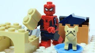 Lego Spiderman Brick Building Dog Shelter Superhero Stop Motion Cartoon