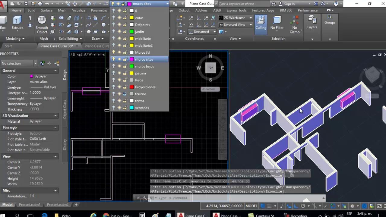 Curso AutoCAD 3D Dibujar Plano de Casa en 3D  Parte 3 Dibujo de