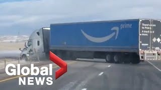 High winds blow Amazon delivery truck off the road in Colorado