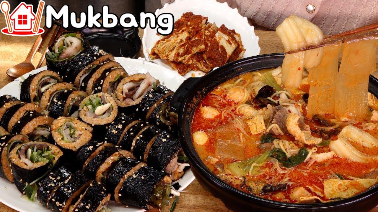 차돌박이 김밥과 마라탕에 설중매 한잔 🥂 먹방  Mukbang beef Kimbap ,  Spicy Mala Soup.