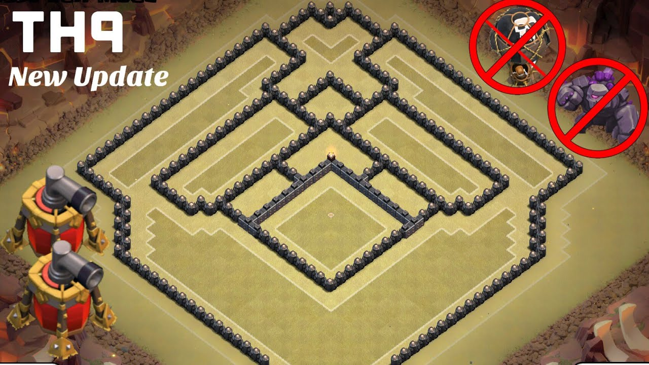 New th9 war base with 2 air sweepers anti air anti gowipe town