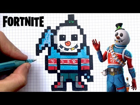 How To Draw Snowman Fortnite Pixel Art Youtube