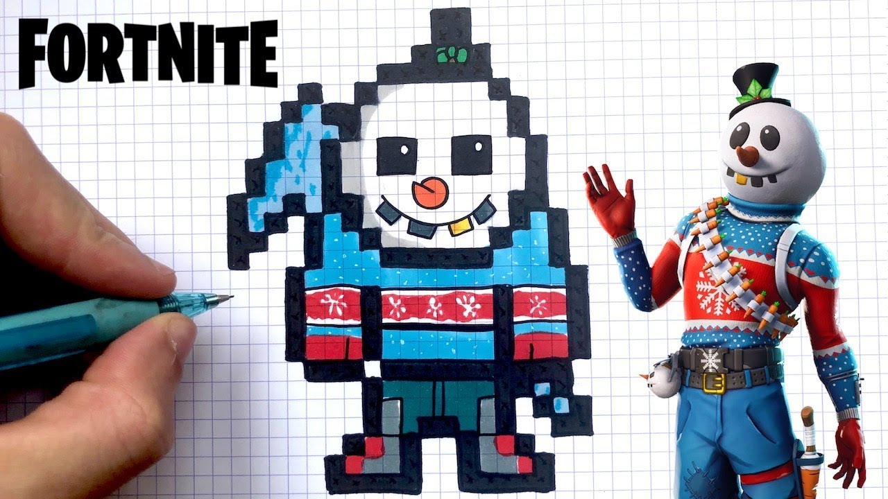 How To Draw Snowman Fortnite Pixel Art