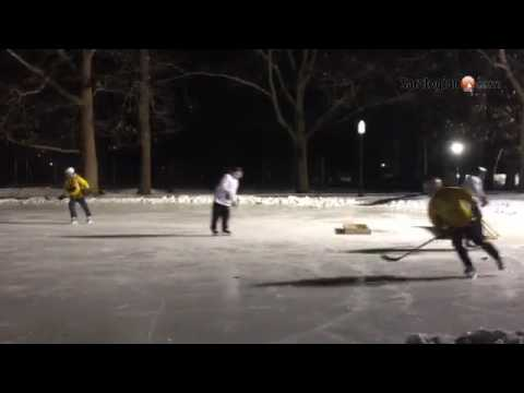 Play begins at the Saratoga Frozen Springs Winter Classic pond hockey tournament
