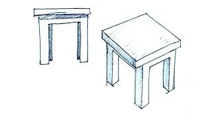 Tutoriales de dibujo - Cómo dibujar una mesa - Dibujos de cosas del hogar 1