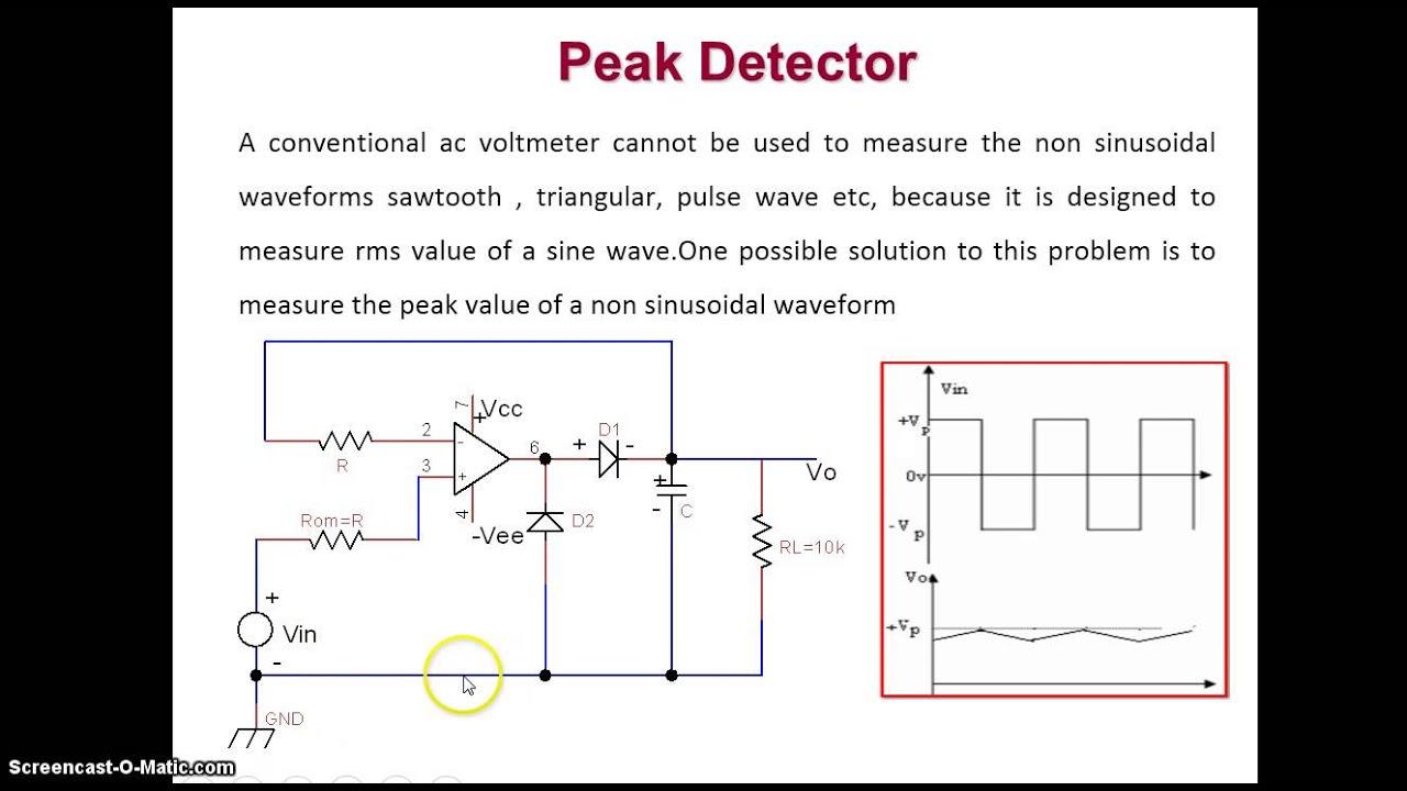unit 3 video2 peak detector youtube rh youtube com Diode Detector Circuit Peak Detector Op-Amp