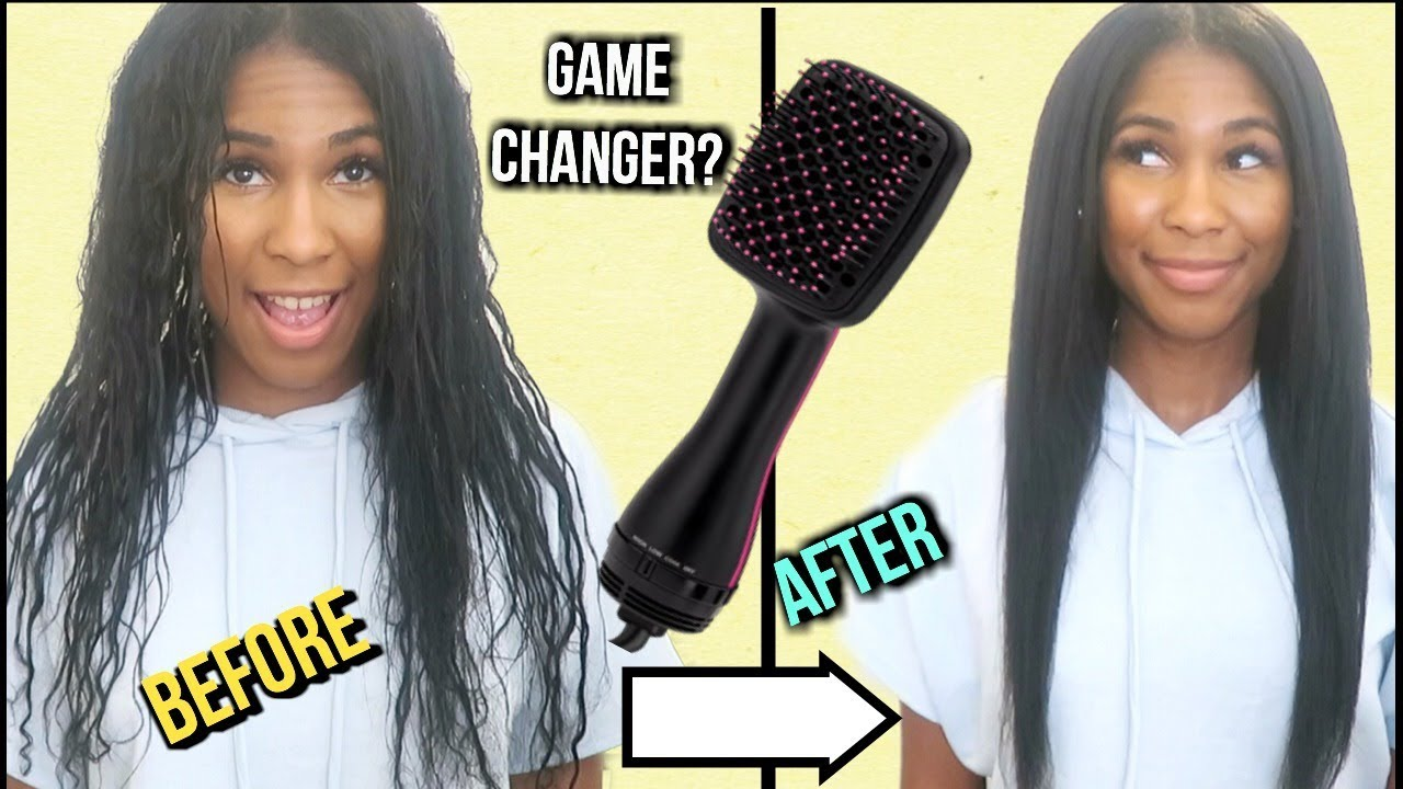 How I Blow Dry My Hair Straight Without A Blowdryer Revlon One Step Hair Dryer Brush Youtube