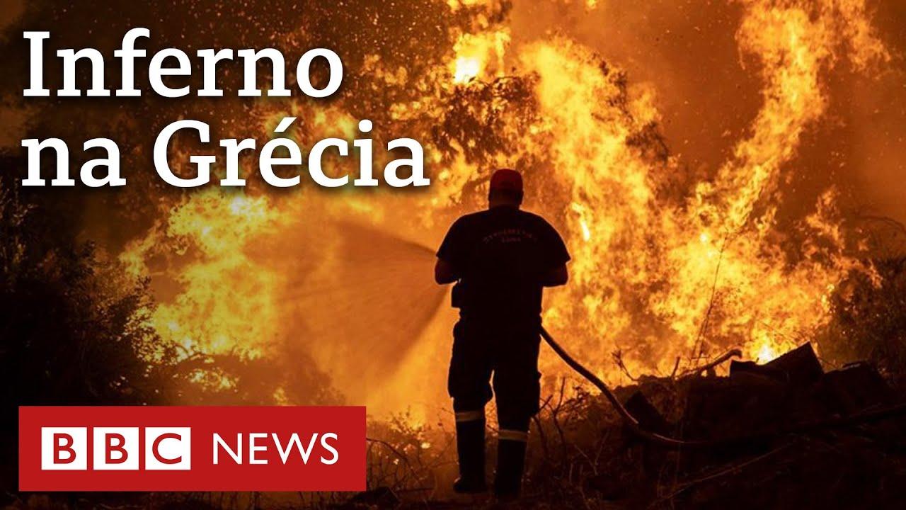 Incêndios na Grécia: 'Parece cena de filme, mas é a vida real'