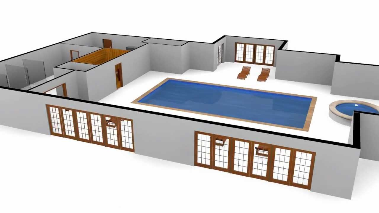 3d swimming pool floor plan with motion spline youtube for Swimming pool plan layout
