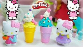 hello kitty frozen ice cream play doh cone playdough toys