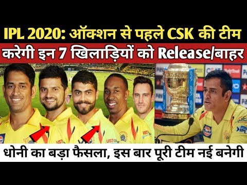 IPL 2020 : CSK Team will Release These 7 Players before Auction   CSK Player Release Policy