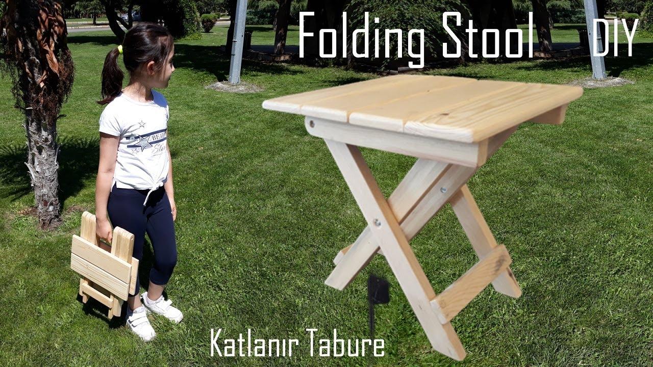 Paletten katlanır tabure yapımı / Foldable stool from pallet wood / Making a portable wooden stool
