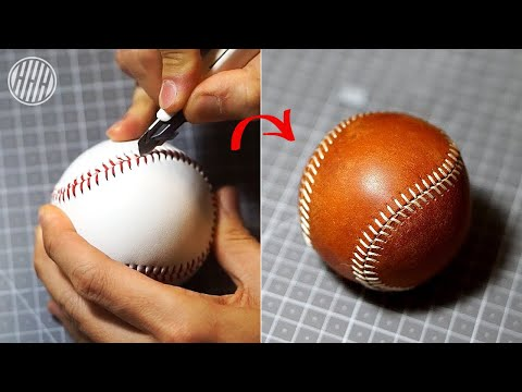 Leather Craft] Replacing Baseball leather cover / Free Pdf