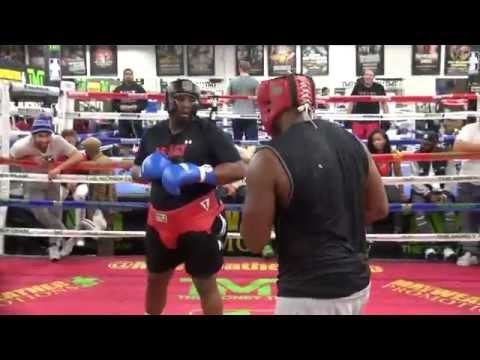 Heavyweights slug it out in the Mayweather Boxing Club- AKA