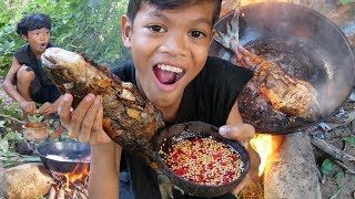 Survival Skills Primitive - Cooking fish and eating delicious ep0011