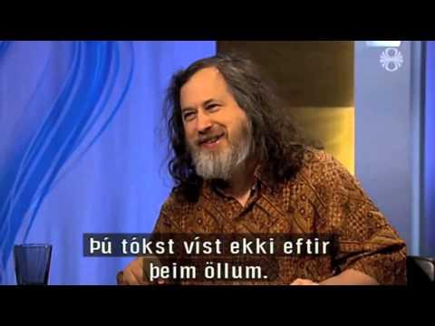 Richard Stallman's awkward handshake on Icelandic television