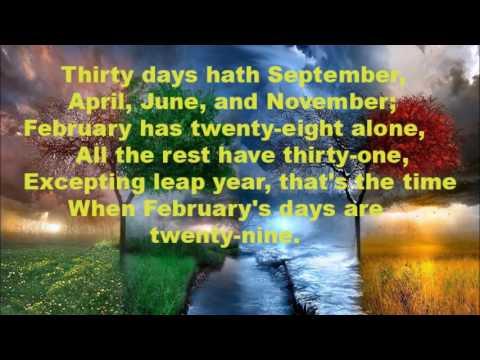 Thirty days hath September... Nursery Rhyme - YouTube
