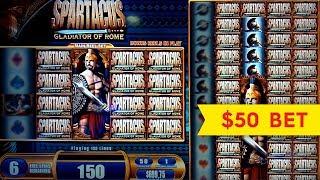 JACKPOT HANDPAY! Spartacus Slot - $50 High Limit Bet Bonus!