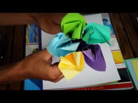 Origami Kusudama Paper Flowers Crafting (DIY ASMR)