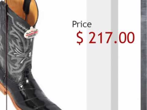 Los Altos Black Eel Cowboy Boots - timsboots.com