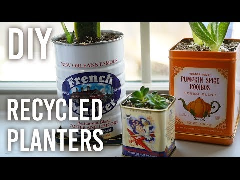 Recycling Metal Containers into Planters - DIY