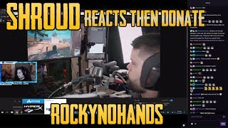 SHROUD REACTS and DONATE to RockyNoHands - Gamer who plays PUBG with His Mouth