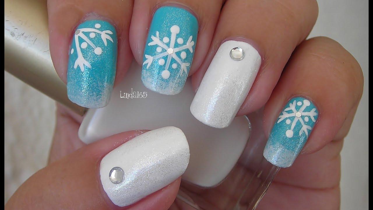 Christmas Nail Art - Frosted Snowflakes - Decoracion de uñas Copos ...