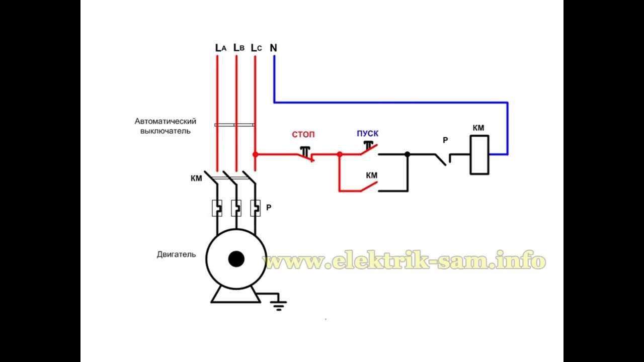 Нереверсивная схема магнитного пускателя