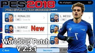 PES 2018 Mobile V 2.3.1 Worldcup Russia Graphic Patch (New Faces,Fully Licensed,International Teams)