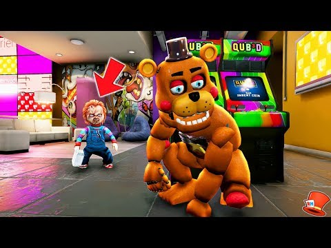 CAN ROCKSTAR FREDDY HIDE FROM CHUCKY? (GTA 5 Mods For Kids FNAF RedHatter)