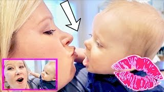 ADORABLE FIRST BABY KISS! 💋TELEMARKETER PRANK CALL! 😂