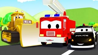 The Car Patrol: fire truck and police car and the Bulldozer in Car City | Trucks cartoon for kids