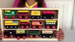 Right Track Toys Wooden Railway Set & Wooden Engines Train Cars Gift Sets