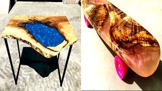 AMAZING Epoxy Resin and Wood Projects Ideas  Live Edge Epoxy Resin River Tables and Epoxy Skateboard