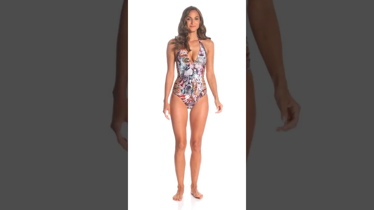 0501bf16fdc Kenneth Cole Pure Instincts Halter One Piece Swimsuit | SwimOutlet.com