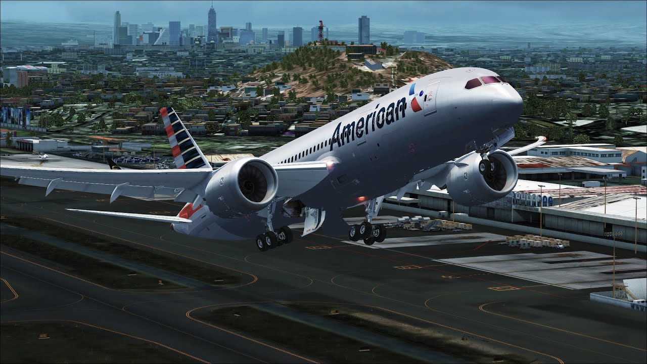FSX [HD] - American Airlines 787 Dreamliner Depart by M A  Flight Simulation
