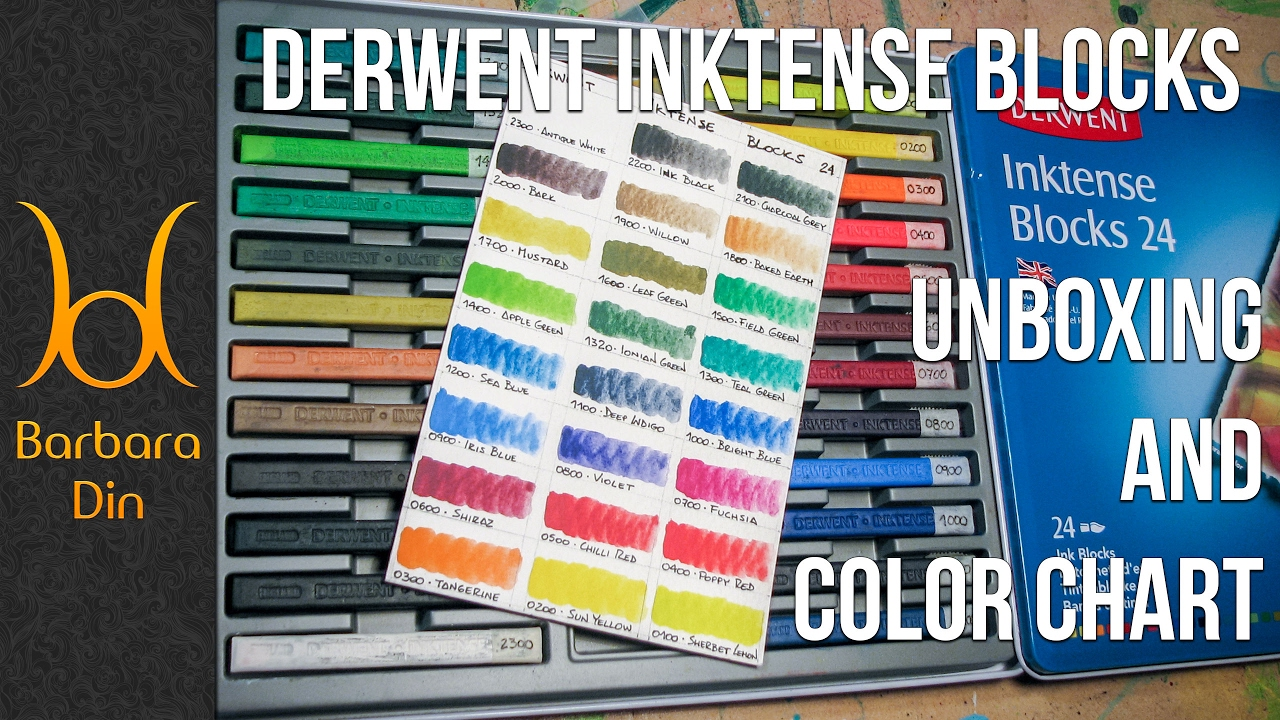 Derwent Inktense Blocks 24 Set Unboxing And Color Chart By Barbara