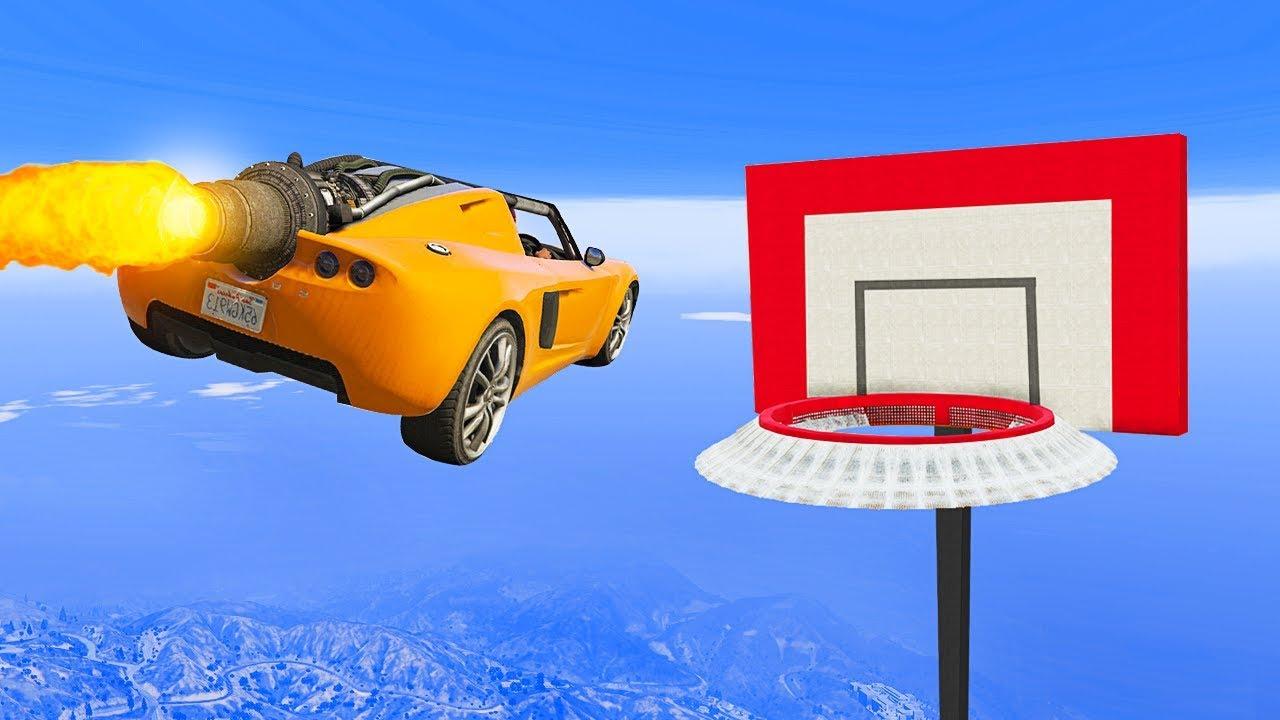 ROCKET CAR BASKETBALL GOAL CHALLENGE! - GTA 5 Funny Moments