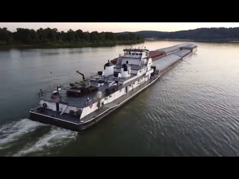 Drone Footage Of Towboats On The Ohio River
